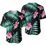 Tropical Seamless Pattern With Pink Hibiscus Flower Jungle Palm Leaves Black Hawaii Tropical Beach Summer