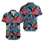 Tropical Seamless Pattern With Colorful Hibiscus And Palm Leaves 1