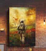 Soldier walking towards god jesus saves veterans poster