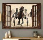 Horses running towards window like poster