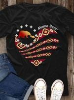 Mama bear heart black african tribe pattern tshirt