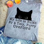 My life is ruled by a tiny furry overlord black cat t-shirt