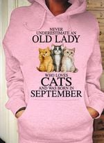 never underestimate an old lady who loves cats and was born in september tshirt