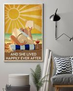 And she lived happily ever after sunshine beach wine reading book travel poster