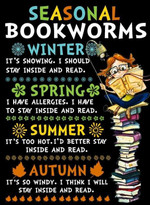 Seasonal bookworms winter spring summer autumn reading bookstore t-shirt