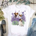 Cute beagles with purples butterfly t shirt