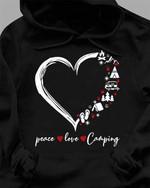 Peace love camping heart shape hoodie
