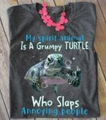 My spirit animal is a grumpy turtle who slaps annoying people shirt