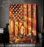 Jesus in forest with rottweilers us flag poster canvas