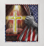 Bible With Bright Cross American Flag Pulling