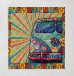 Hippie Peace Sunflower Camper Colorful-Tm