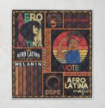 Afro girl vote strong girl retro