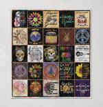 Hippie quilt with flowers pop-art background