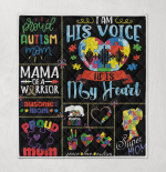 Autism I Am Voice He Is My Heart Puzzle Mama Bear Proud Mom Peace Love Ausome Mom
