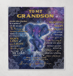To My Grandson Inside This Blanket Is Piece Of My Heart Bring You Comfort And Warmth Grandma Mandala Pattern Elephant