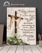 Amazing grace lyric chris tomlin jesus heaven cross rememberance gift poster canvas white scarf
