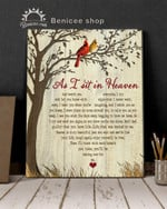 As i sit in heaven cardinals heart shape memorial gift poster canvas