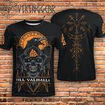 Till Valhalla Vegvisir Horror Skull 3D Designed Allover T-Shirt Gift For Halloween Holiday Lovers 3D Tshirt