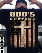 God's Got My Back Cross Lamb Usa Flag Usa Country T-Shirt Gift For Americans Tshirt