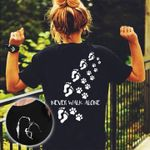 Never Walk Alone Human Footprints With Cat Paw Prints T Shirt Best Gift For Cat Lovers Tshirt