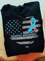 Diabetes Support Blue Ribbon Heart American Flag Red Cross T Shirt Best Goft For Diabetes Support Tshirt