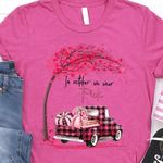 In October We Wear Pink Cherry Blossoms Truck Full Of Pink Crop T Shirt Best Gift For Mean Girl Fans Tshirt