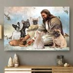 Jesus God Surrounded By French Bulldog Angels Poster For Bulldog Lovers Bulldog Moms Poster