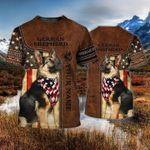 German Shepherd Dog With Scraf American Flag Star T Shirt Best Gift For Dog Lovers 3D Tshirt