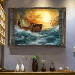 The Fleet Of Ships Overcome The Fierce Stormy Sea To Welcome Jesus Poster Canvas Best Gift For Jesus Lovers Poster