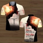 If The Stars Were Made To Worship So Will I Jesus 3D Designed Allover T-Shirt Gift For Jesus Lovers Polo shirt