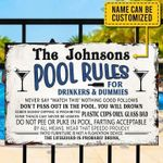 Personalized The Johnsons Pool Rules For Drinkes And Dummies Poster Canvas Best Gift With Custom Name For Pool Party Poster