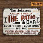 Personalized The Johnsons Chillin And Grillin The Patio Bar Good Friend Times Poster Canvas Best Gift With Custom Name And Date For Bar Poster