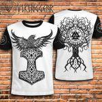 Viking Gear Raven Hammer Tree Of Life 3D Designed Allover T-Shirt Gift For Viking Lovers 3D Tshirt