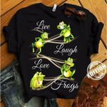 Live Laugh Love Frogs Green Jumping Variety Of Expressions T Shirt Best Gift For Frog Lovers Tshirt