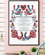 Norwegian House Rules If You Turn It On Turn It Off If You Open It Close It Poster Canvas Best Gift For Norwegian Lovers Poster