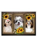 Shih Tzu And Sunflowers Wood Window Design Poster Canvas Gift For Hippie And Shih Tzu Lovers Poster