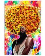 Black Women Sunflower Head Vertical Creativer Design Poster Canvas Gift For Black Queen Poster