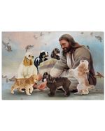 Jesus Sit With Cocker Spaniel And Birds Horozontial Poster Canvas Gift For Jesus Believers Poster