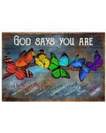 God Says You Are Unique Special Lovely Precious Strong Chosen Forgiven Colorful Butterflies Poster Gift For Hippie Girls Poster