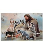 Jesus Sit With Heeler And Birds Horizontal Design Poster Canvas Gift For Jesus Believers Poster