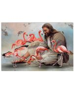 Jesus Sit With Flamingos And Birds Horizontal Design Poster Canvas Gift For Jesus Believers Poster
