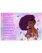 Black Girl Eat Gums You Are Beautiful Victorious Enough Created Strong Bible Poster Canvas Gift For God Lovers Poster