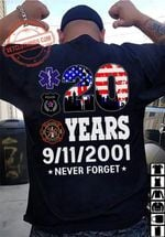 20 Years 9/11/2001 Never Forget American Country T-shirt Gift For Nine Eleven Memorials Tshirt