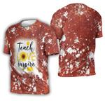 Teach Love Inspire Sunflower Vintage Red Drop Painting 3D Designed Allover Gift For Teachers 3D T-shirt