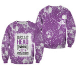 HWIC head witch in charge White Purple Drop Painting 3D Designed Allover Gift For Halloween Holiday Lovers Sweater