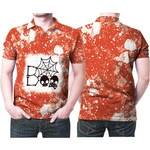 Boo Skull Skeleton Cute Halloween Spider Orange White Drop Painting 3D Designed Allover Gift For Halloween Holiday Lovers Polo shirt