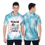 Teach Love Inspire Sunflower Vintage Blue Drop Painting 3D Designed Allover Gift For Teachers Short Sleeve Hoodie
