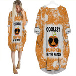 Coolest Pumpkin In The Patch Orange White Drop Painting 3D Designed Allover Gift For Halloween Holiday Lovers Batwing Pocket Dress