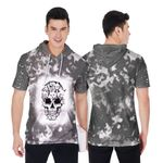 Halloween Funny Cats Made Skull Smoke Black 3D Designed Allover Gift For Halloween Holiday Lovers Short Sleeve Hoodie