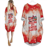 Rolling into kinder garten firefighter red white drop painting 3D Designed Allover Gift For Firefighters Batwing Pocket Dress
